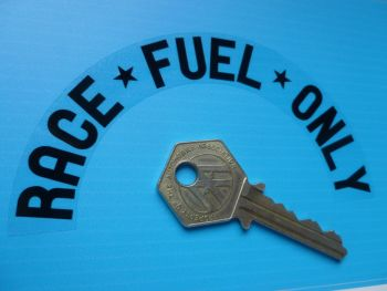 """Race Fuel Only Arched Race Car Stickers. 4.5"""" Pair."""