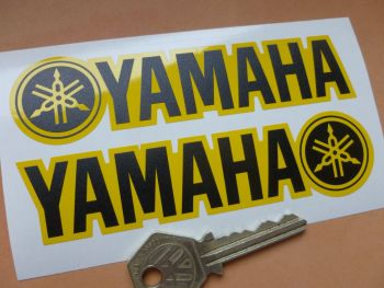 """Yamaha Oblong Shaped and Handed Black & Yellow Stickers. 5"""" Pair."""