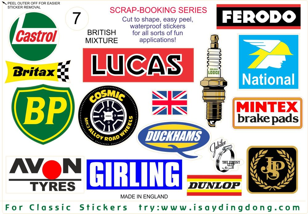 British Classic Racing Range of Scrapbooking Stickers Small Scale Labels. Set of 16. Set #7.