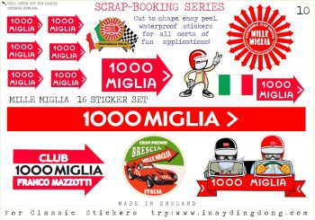Classic Mille Miglia Scrapbooking Stickers Small Scale Rallying Labels. Set of 16. Set #10.