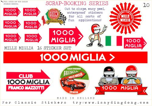 Classic Mille Miglia Scrapbooking Stickers Small Scale Rallying Labels. Set