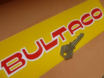 "Bultaco Red & White Cut Text Stickers. 9"" Pair."