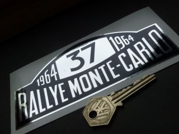 "Mini Cooper S No.37 1964 Monte-Carlo Rallye Winner Plate Black & Chrome Foil Sticker. 6""."