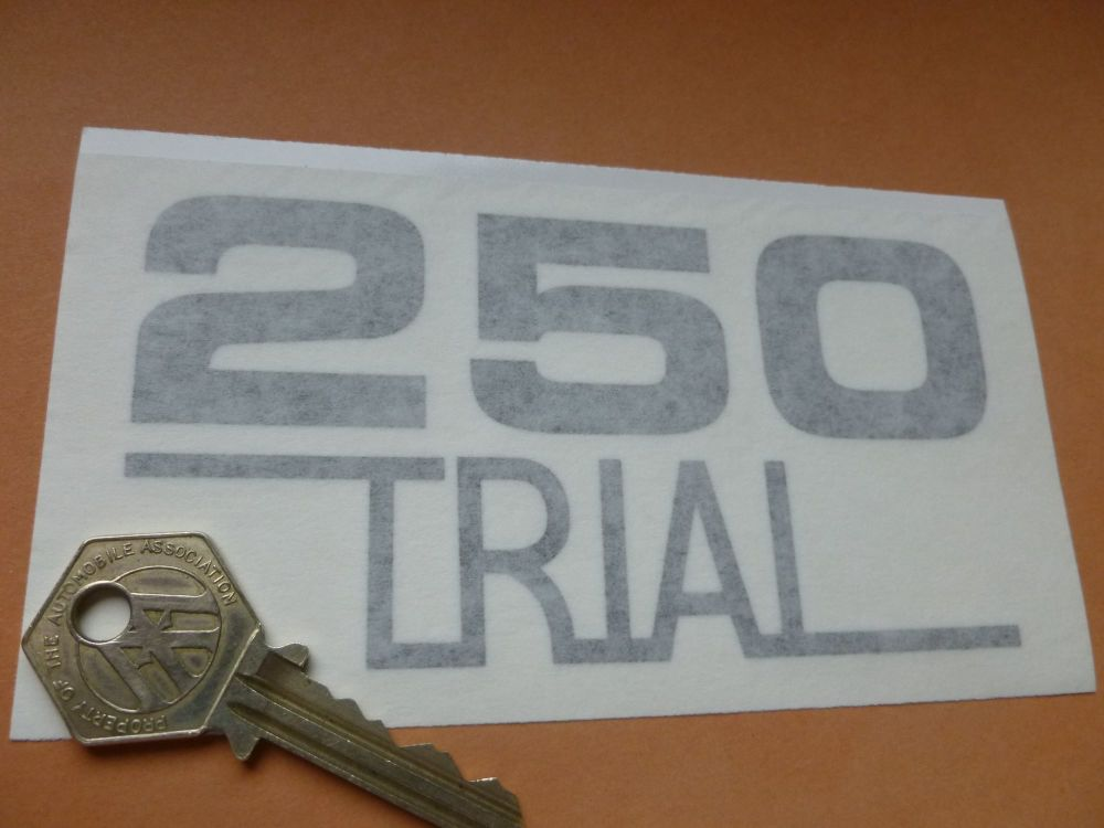"""OSSA '250 Trial'  Cut Vinyl Sidepanel Style Stickers. 4.75"""" Pair."""