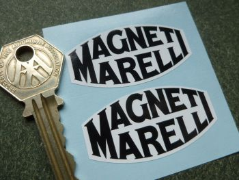 "Magneti Marelli Old Serif Style Black & White Stickers. 2"" Pair."