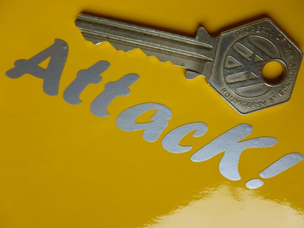 "Attack! Silver Cut Vinyl Text Sticker. 3.5""."
