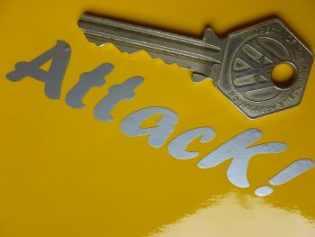 "Attack! Silver Cut Vinyl Text Sticker. 3.5""."