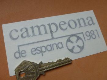 "OSSA 'Campeona de Espana 1981'  Cut vinyl Sidepanel Style Stickers. 4.25"" Pair."