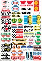 Model Racing Slot Car Sticker Set A. Mainly European & British.