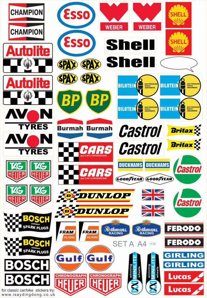 Model Racing Slot Car Sticker Set A. Mainly European & British.