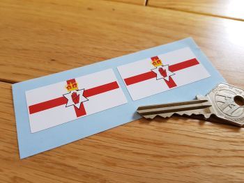 "Northern Ireland Ulster Banner Flag Stickers. 2"" Pair."