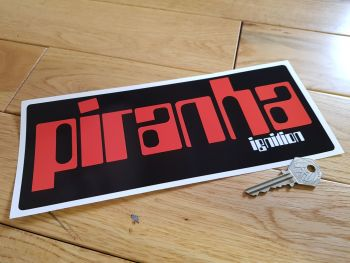 "Piranha Electronic Ignition Oblong Sticker. 10""."
