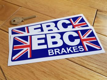 "EBC Brakes Union Jack Stickers. 7"" Pair."