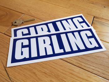 "Girling GT40 Style Blue & White Close Cut Oblong Stickers. 8"" Pair."
