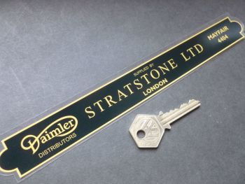 "Stratstone Ltd London Daimler Dealer Shaped Oblong Window Sticker. 10""."