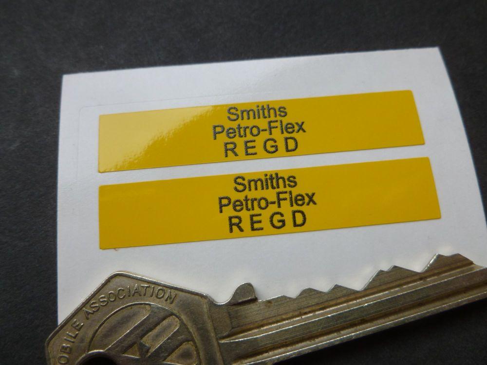 Smiths Petro-Flex REGD Yellow Petrol Pipe Stickers. 50mm x 10mm Pair.
