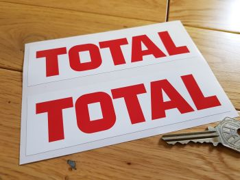 "Total Red Text on White Stickers. 6"" Pair."