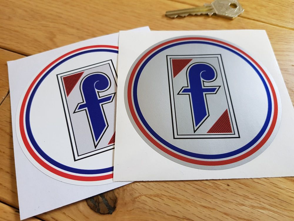 "Pininfarina Circular Logo Stickers. White or Silver Background. 4"" Pair."