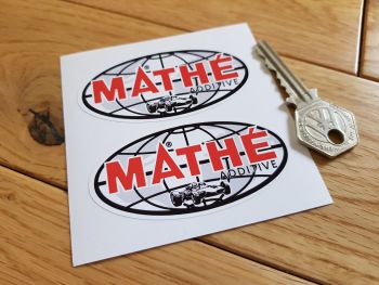 "Mathe additive Oval Shaped Stickers. 3"" Pair."