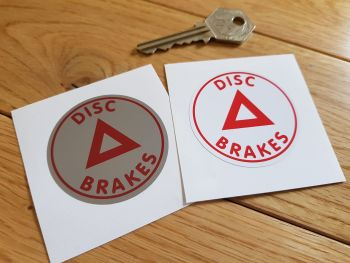 """Disc Brakes Circular Warning Sticker. 2""""/50mm."""