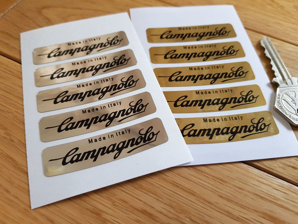 "Campagnolo Made In Italy Wheel Stickers Set of 5. Black on Gold or Silver Foil. 2.25""."