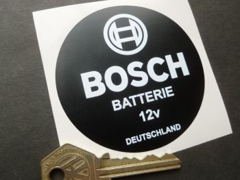 "Bosch Batterie Car or Motorcycle White on Matt Black Battery Sticker. 12 volt. 3""."