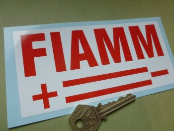 "Fiamm Red & White Batteries Oblong Stickers. 6"" Pair."