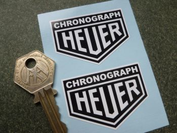 "Heuer Chronograph Black & White Stickers. 2"" Pair."