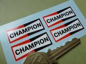 "Champion Spark Plugs Small Oblong Stickers. 1.5"". Set of 4"