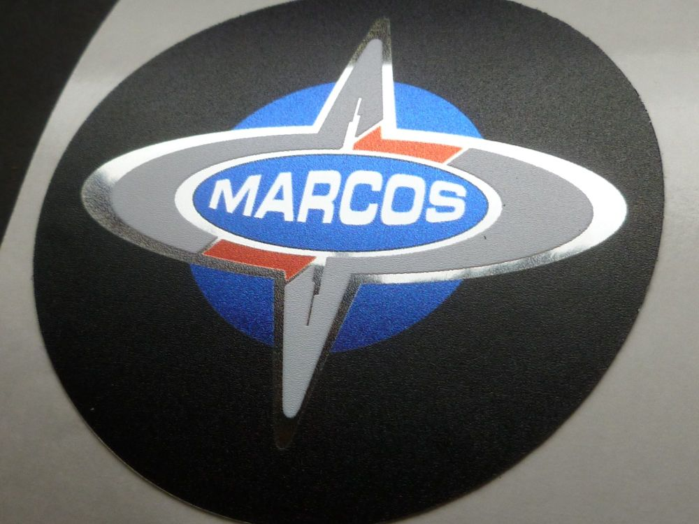 Marcos Logo Colour and Chrome Style Sticker. 69mm.