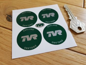 TVR England Dark Green Wheel Centre Stickers. Set of 4. 35mm or 50mm.