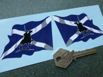 "Border Reivers Scottish Saltire Flag Vinyl Stickers. 3"" Handed Pair."