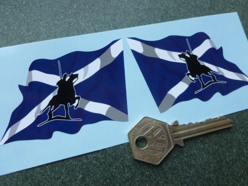 Border Reivers Scottish Saltire Flag vinyl stickers handed pair.