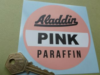 "Aladdin Pink Paraffin Sticker. 4""."