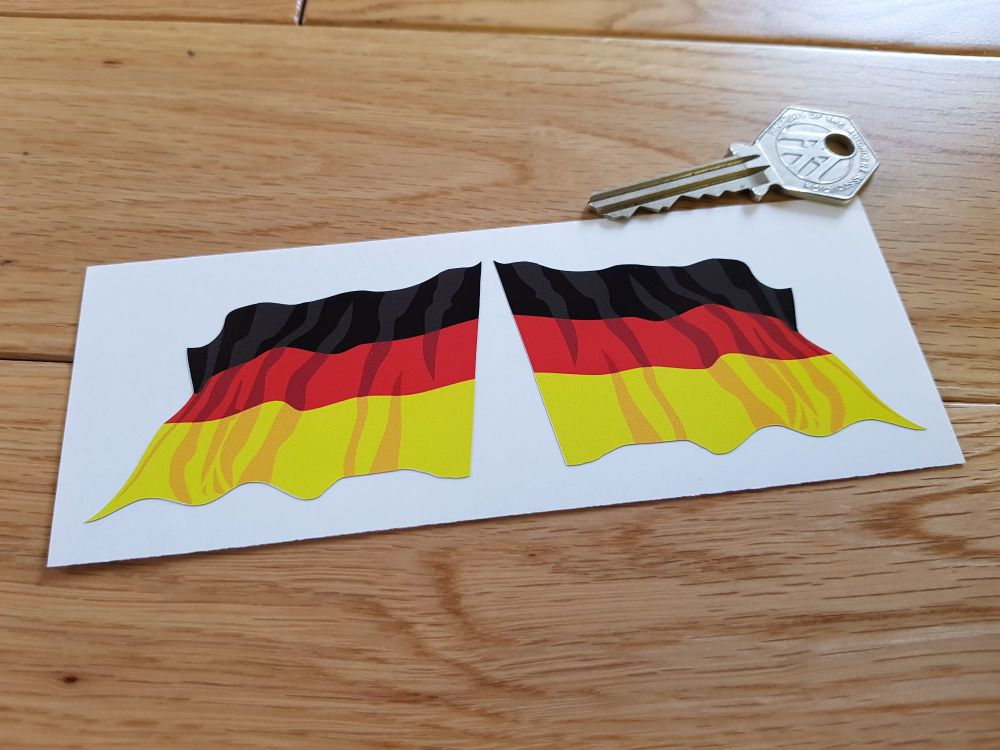 German Wavy Flag Stickers. 45mm or 70mm Pair