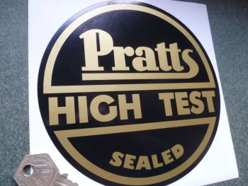 "Pratts High Test Sealed Circular Black & Gold Printed Sticker. 6""."