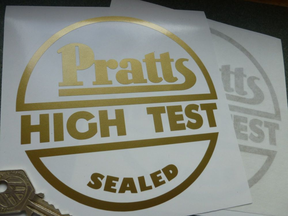"Pratts High Test Sealed Circular Gold Cut Vinyl Sticker. 5.5""."