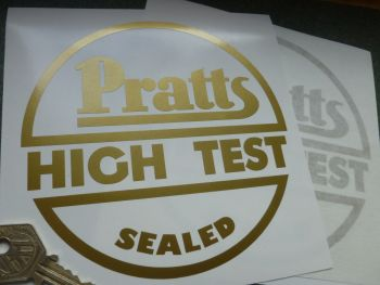 "Pratts High Test Sealed Circular Gold Cut Vinyl Sticker. 5.5""."