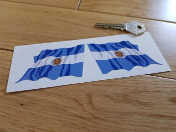 """Argentinian Flag Wavy Argentina Stickers. 3"""" Pair."""