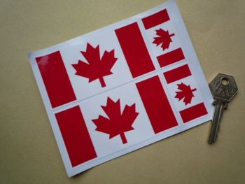 Canadian Flag Stickers. Set of 4.