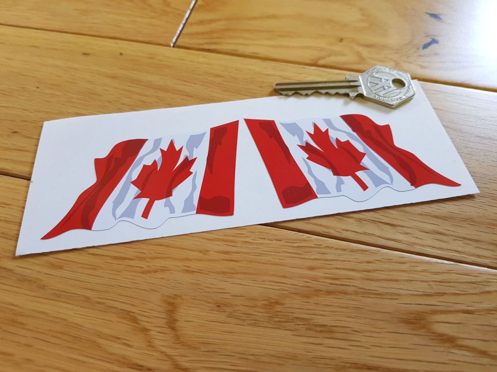 """Canadian Wavy Flag Stickers. 2"""" or 3"""" Pair."""