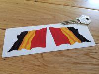 """Belgium Wavy Flag Stickers. 2"""" or 3"""" Pair."""