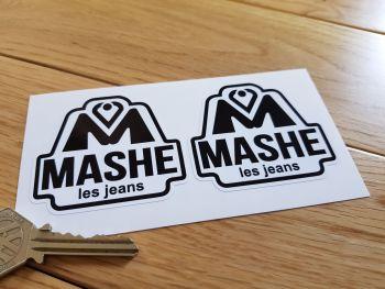 "Mashe Helmet Black & White Stickers. Barry Sheene etc. 2.5"" Pair."
