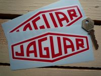 "Jaguar Lozenge Red & White Stickers. 2"", 3"", 4"", 6"" or 10"" Pair."