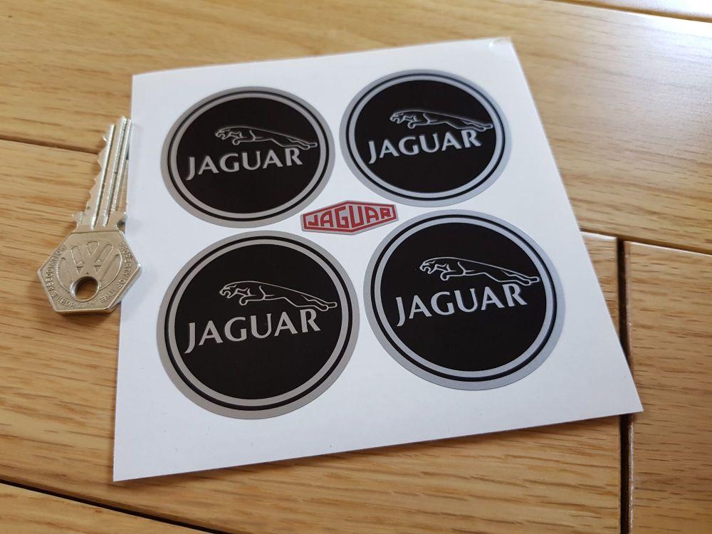 Jaguar Racing Wheel Centre Stickers. Leaper. Black & Silver. Set of 4. 50mm