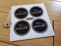 Jaguar Racing Wheel Centre Stickers. Leaper. Black & Silver. Set of 4. Various Sizes.