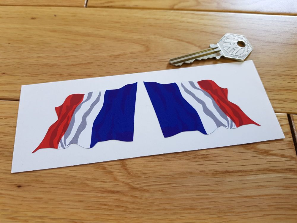 French Wavy Flag Stickers. 45mm or 70mm Pair.