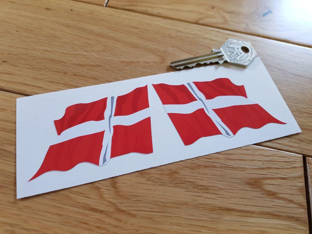 "Denmark Wavy Flag Stickers. 2"" Pair."