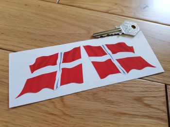 "Denmark Wavy Flag Stickers. 2"" Pair."