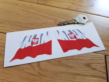 "Poland Wavy Flag Stickers. 2"" or 3"" Pair."